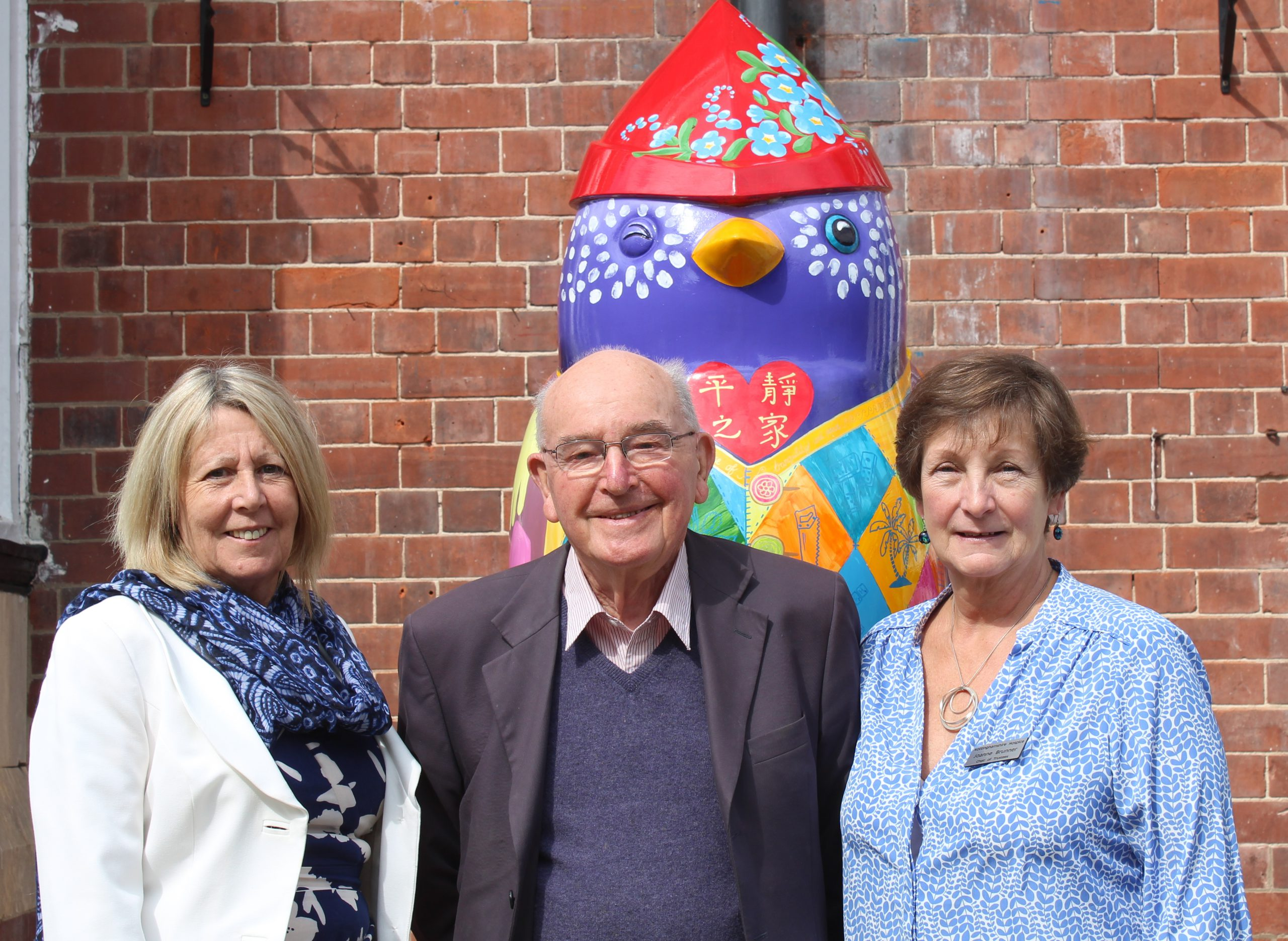 Rowena with Founder Bernard Brady and Chair of Trustees Joanne Brunner