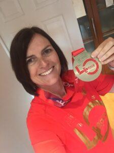 Yvette Dean with Virtual London Marathon medal