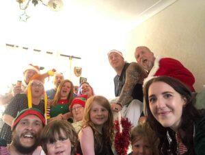 Carole and family at Christmas