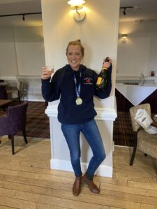 Sian celebrates after completing Three Peaks for Nottinghamshire Hospice