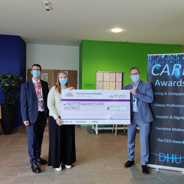 DHU presenting cheque to Nottinghamshire Hospice