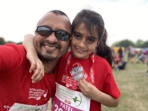 Priya mini marathon runner and her dad Sameer
